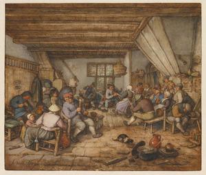 Dansende, drinkende en musicerende boeren in een herberg