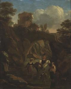 Zuidelijk landschap met een stenen brug en boeren die door een rivier waden