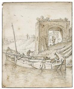 Schepen op het water bij een stenen poort; mogelijk de Eerste Westerpoort in de Bemuurde Weerd tegenover bastion Morgenster te Utrecht
