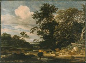 Boslandschap met rustende herders met hun vee bij een poel