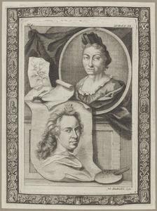 Portretten van Maria Sibylla Merian (1647-1717) en David van der Plas (1647-1704)