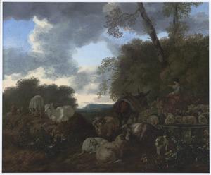 Zuidelijk  landschap met herders en kudde bij een drinkbak