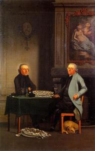 Portret van Lucas IJsbrandsz.(?-?) met een lid van de familie Van Sloterdijck