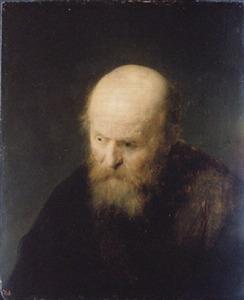 Borststuk van een man met een kaal hoofd