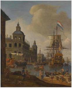 Hollands fregat in een mediterrane haven