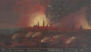 Nachtelijk gezicht op het Engelse bombardement van Kopenhagen op 2, 3 en 4 september 1807