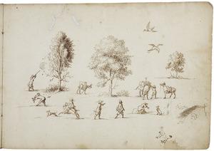 Studies van figuren, dieren en bomen