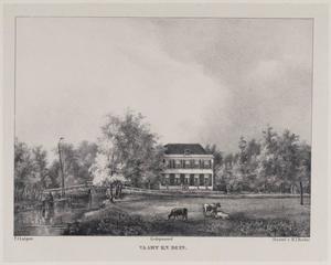 Landschap met gezicht op de hofstede Vaart en Duin