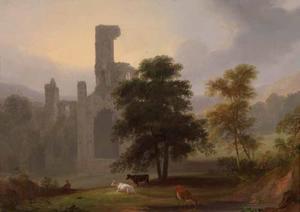 Landschap met een kloosterruïne en vee