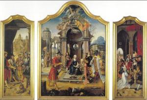 Drieluik met de aanbidding van de koningen (middenpaneel); de boodschappers voor Koning David (linkerluik); het bezoek van de Koningin van Sheba aan Koning David (rechterluik)