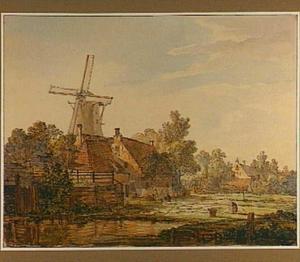 Het bleekveld buiten de Vriesepoort in Dordrecht met op de achtergrond de molen De Arend