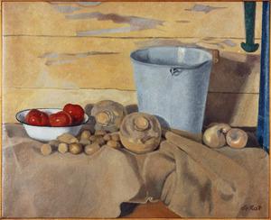 Stilleven met grote emmer, tomaten en koolrapen