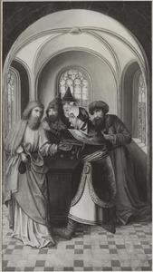 Judas ontvangt de dertig zilverlingen van de Sanhedrin voor zijn verraad