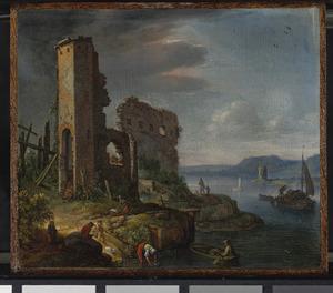 Landschap met ruïnes en figuren op de oever van een rivier