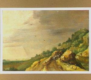 Heuvellandschap met veedrijver op een rotsachtig pad