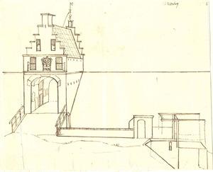 Gezicht op de ingangspartij van het slot te Batenburg