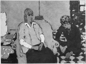 Interieur met twee zittende vrouwenfiguren; een op de grond, een op een fauteuil
