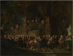 Ontvangst in de gildekamer van burgemeester J.K. De Cordes