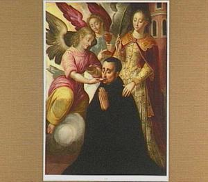 De H. Barbara presenteert een man, die de communie ontvangt van twee engelen
