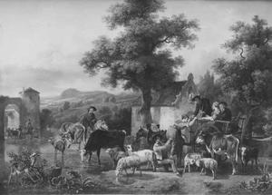 Landschap met vee en herders bij een poel