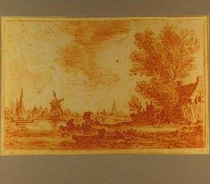 Rivierlandschap met boten, figuren en een molen