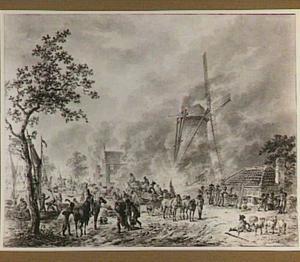 Franse soldaten plunderen een Hollands dorp