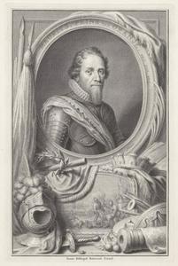 Portret van Maurits van Oranje-Nassau (1567-1625), de Slag bij Nieuwpoort in een cartouche