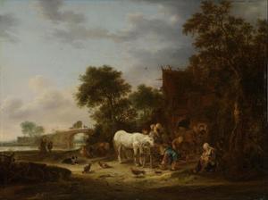 Boerenherberg met een paard aan de trog