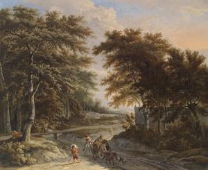 Boeren en reizigers aan de rand van een bos
