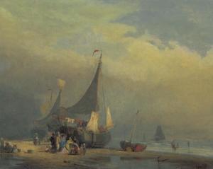 Vissersschepen aan de kust bij Scheveningen