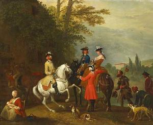 Elegant jachtgezelschap te paard, voor een herberg