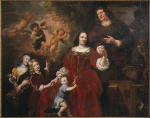 Portret van Hendrick Matthias en zijn familie