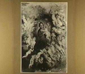 Madonna en kind omringd door putti