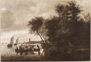 Rivierlandschap met veerpont; op de achtergrond een kerk (Gorinchem?)