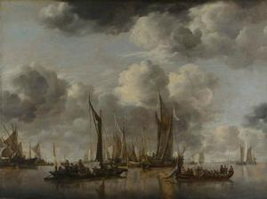 Riviergezicht met verschillende schepen en op de voorgrond een veerpont