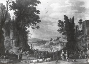 Landschap met Rebecca en Eliezer (Genesis 24:18-19)