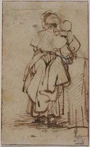 Studie van een vrouw met een kind op de arm