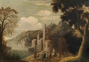 Landschap met figuren aan de waterkant