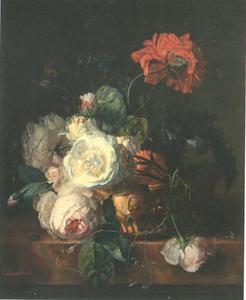 Bloemstilleven in een mand op een marmeren blad