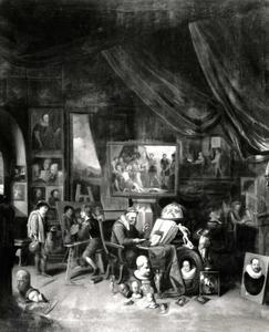 Schilders aan het werk in een atelier