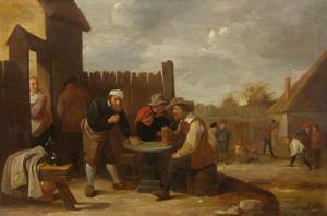 Dobbelende boeren bij een herberg, kegelaars in de achtergrond