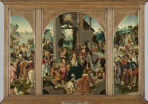 Het vertrek van de drie koningen (binnenzijde links), De aanbidding van de koningen (midden), Het gevolg van de drie koningen (binnenzijde rechts); H. Antonius Abt (buitenzijde links), H. Adrianus (buitenzijde rechts)