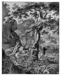 Mercurius met zijn fluit brengt Argus in slaap, rechts Io veranderd in een koe, in een landschap
