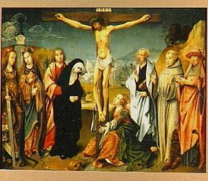 De kruisiging met de HH. Cecilia, Barbara, Petrus, Franciscus en Hieronymus