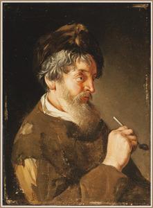 Bebaarde man met een bontmuts en een pijp