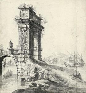 Fantasiegezicht met de Romeinse Arco degli Argentari in een Italianiserend kustlandschap