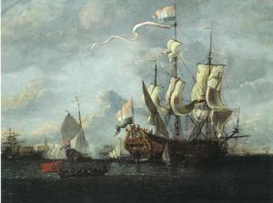 Schepen op de rede van Amsterdam aan het IJ