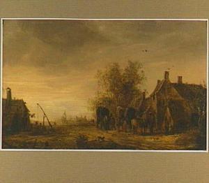 Landschap met huifkarren bij een herberg (op de achtergrond Renkum)