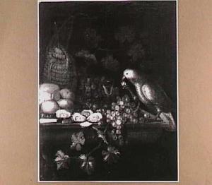 Stilleven met vogel, vruchten, oesters, brood en mes