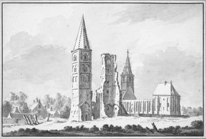 Ruïne van de abdij van Egmond vanuit het noordwesten